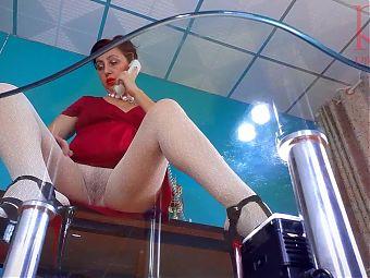 SEXRETARY. No panties secretary. White transparent pantyhose